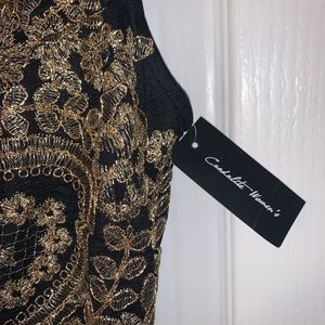 Dresses - Plus Size Floor Length Gown with Gold Detailing